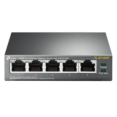 TP-LINK (TL-SF1005P) 5-Port 10/100 Unmanaged Desktop Switch, 4 Port PoE, Steel