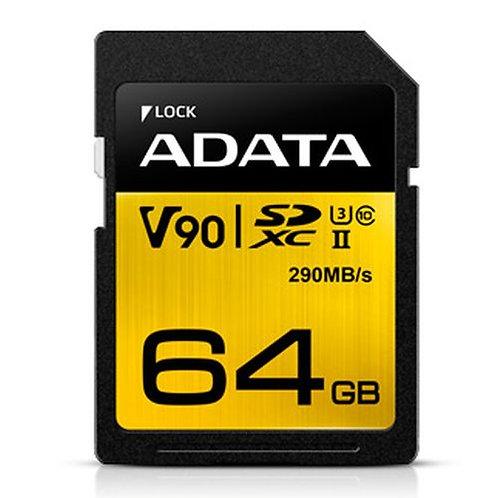 ADATA Premier ONE 64GB SDXC Card, UHS-II Class 10 (U3), V90 Video Speed (8K), R