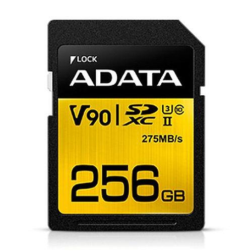 ADATA Premier ONE 256GB SDXC Card, UHS-II Class 10 (U3), V90 Video Speed (8K),