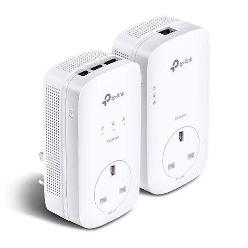TP-LINK (TL-PA8033P KIT) AV1300 GB Powerline Adapter Kit, 3-Port, AC Pass Throu
