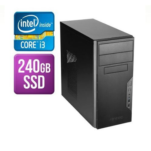 Spire Tower PC, Antec VSK3000B, i3-8100, 8GB, 240GB SSD, Corsair 450W, DVDRW, K