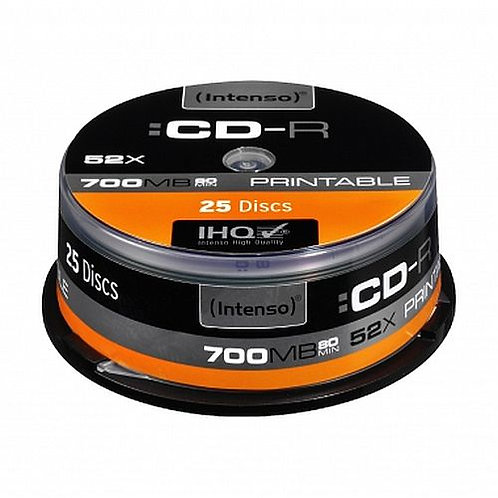 Intenso CD-R, 700MB/80 Minutes, 52x Speed, Printable, Cake Box of 25