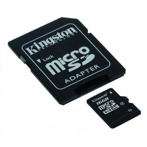 Kingston 16GB High Capacity Micro SD Card with SD Adapter, Class 4