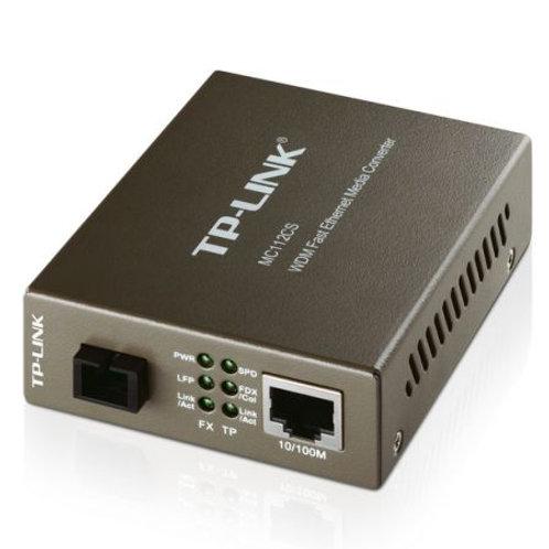 TP-LINK (MC112CS) Single-Mode SC Fiber WDM Media Converter, up to 20km, 100B-FX