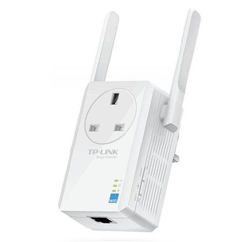 TP-LINK (TL-WA860RE) 300Mbps Wall-Plug Wifi Range Extender, AC Passthrough, 1 L
