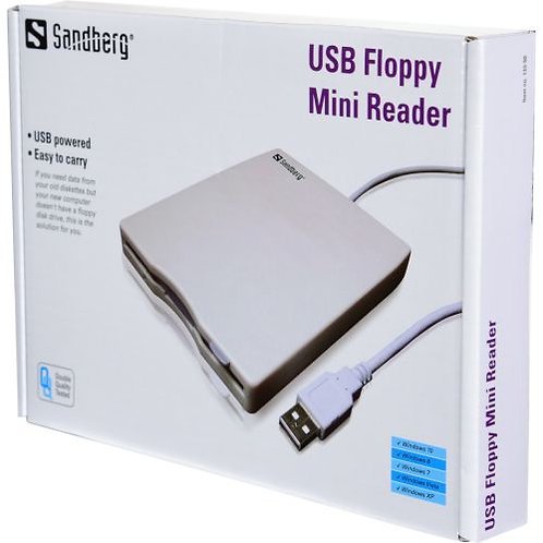 "Sandberg External USB 3.5"" Floppy Drive, White/Grey, 0.5 Metre Cable, 5 Year Wa"