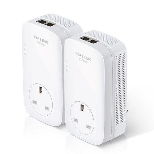 TP-LINK (TL-PA9020P KIT) AV2000 GB Powerline Adapter Kit, AC Pass Through, 2 Po