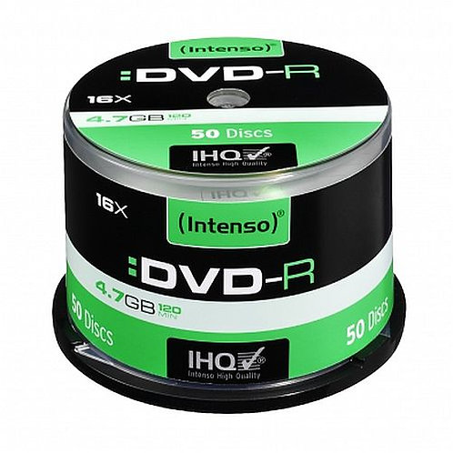Intenso DVD-R, 4.7GB/120 Minutes, 16x Speed, Single Layer, Cake Box of 50