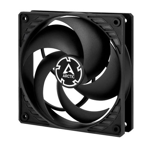 Arctic P12 12cm Pressure Optimised PWM PST Case Fan, Black, Fluid Dynamic, 10 Y