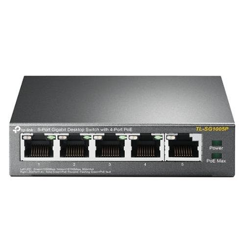 TP-LINK  (TL-SG1005P)  5-Port Gigabit Unmanaged Desktop Switch, 4 Port PoE, Ste