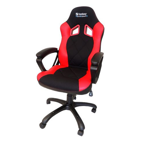 Sandberg Warrior Gaming Chair, Tiltable & Height Adjustable, Black & Red, 5 Yea