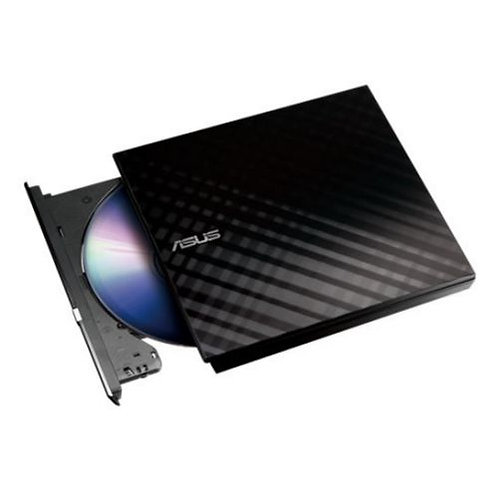 Asus (SDRW-08D2S-U LITE) External Slimline DVD Re-Writer, USB, 8x, Black, Cyber