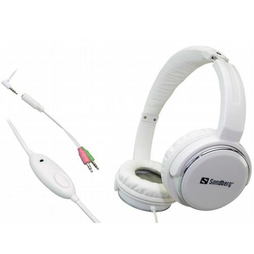 Sandberg Home 'N Street Headset, Microphone on Cable, 40mm Driver, White, 5