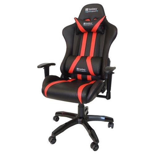 Sandberg Commander Gaming Chair, Tiltable & Height Adjustable, Black & Red, 5 Y