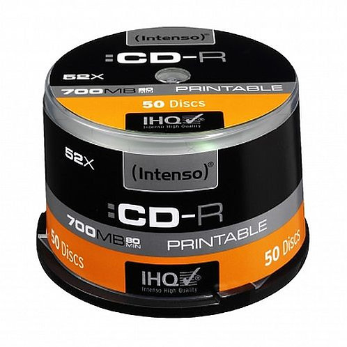 Intenso CD-R, 700MB/80 Minutes, 52x Speed, Printable, Cake Box of 50