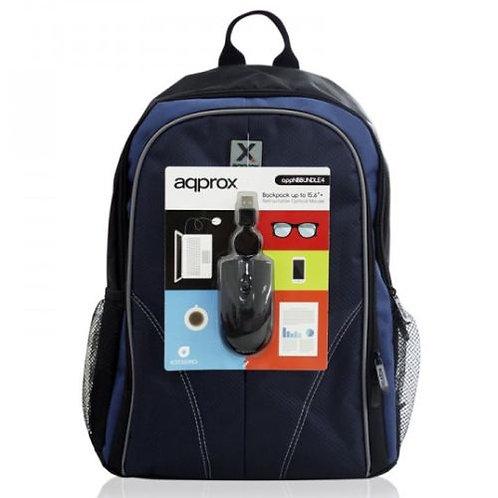 "Approx (APPNBBUNDLE40) Backpack & Mouse Bundle - 15.6"""" Case in Black & Blue wi"