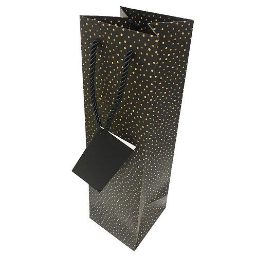 Single Gift Bag - Black Gold dots