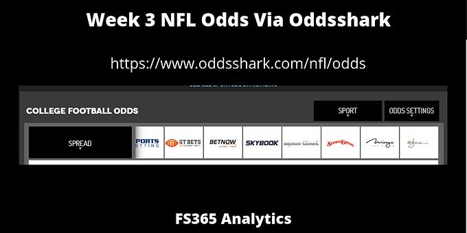 WK3 NFL Odds Via Oddsshark
