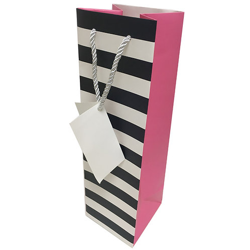 Single Gift Bag - Black/White and Pink