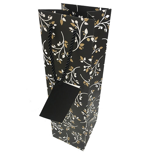 Single Gift Bag - Black Floral