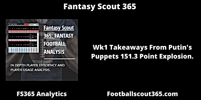 Fantasy Football Scout 365: Wk1 Takeaways From Putin's Puppets 151.3 Point Explosion.