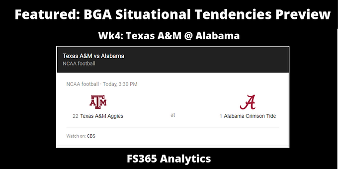 Featured: BGA Situational Tendencies Preview: Alabama Offense v. Texas A&M Defense