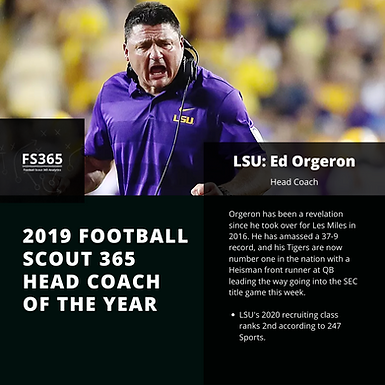 CFB: Football Scout 365 2019 Head Coach of The Year: LSU's Ed Orgeron
