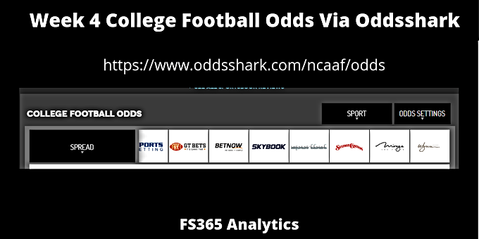 Week 4 College Football Odds Via Oddsshark