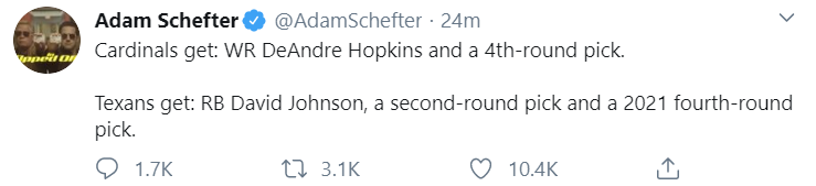 Adam Schefter WR Deandre Hopkins Traded to Arizona Cardinals