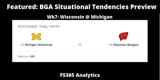 Featured: WK7 Situational Tendencies Preview: Wisconsin @ Michigan