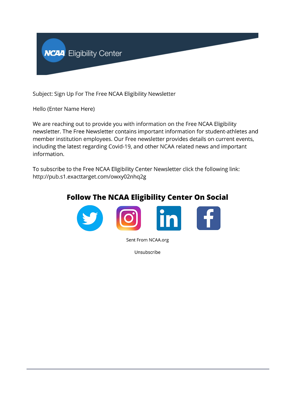 NCAA Email Marketing Template