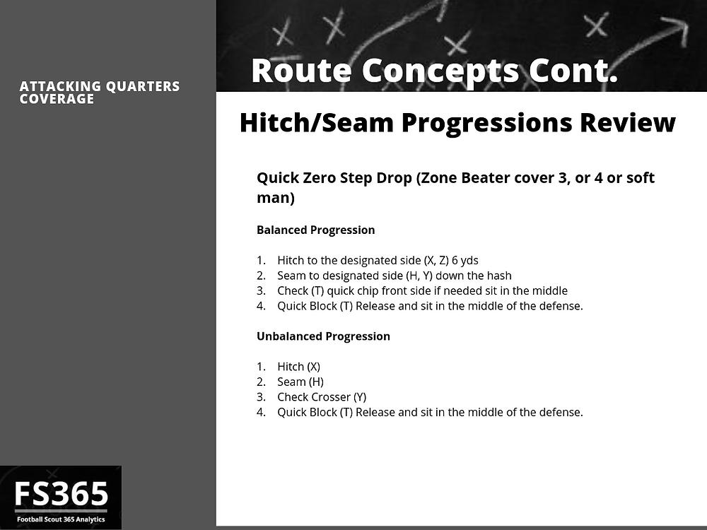 Hitch Seam Progressions vs quarters coverage
