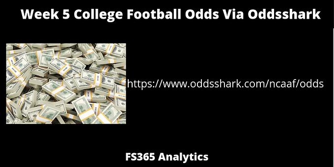 WK5 College football Odds