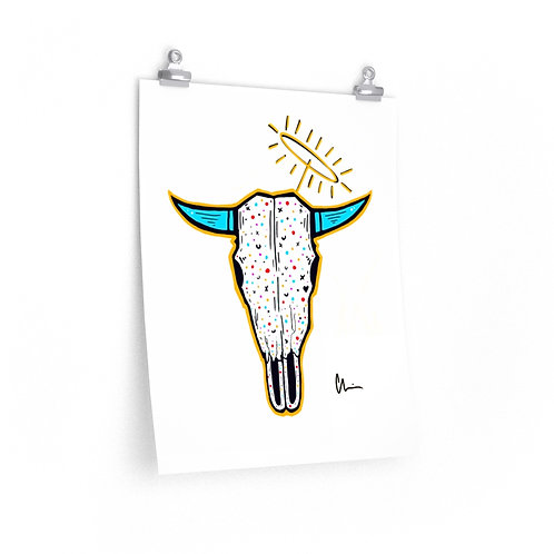 Cow Skull Angel Poster Print