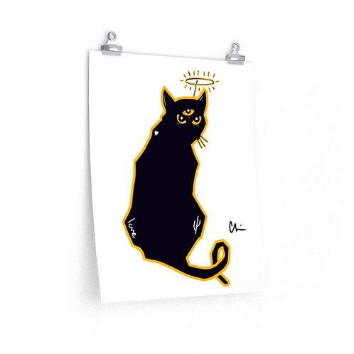 Three-Eyed Black Cat Poster Print