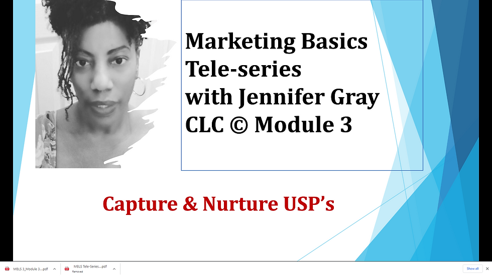 Marketing Basics 3 Tele-Series  Module 3