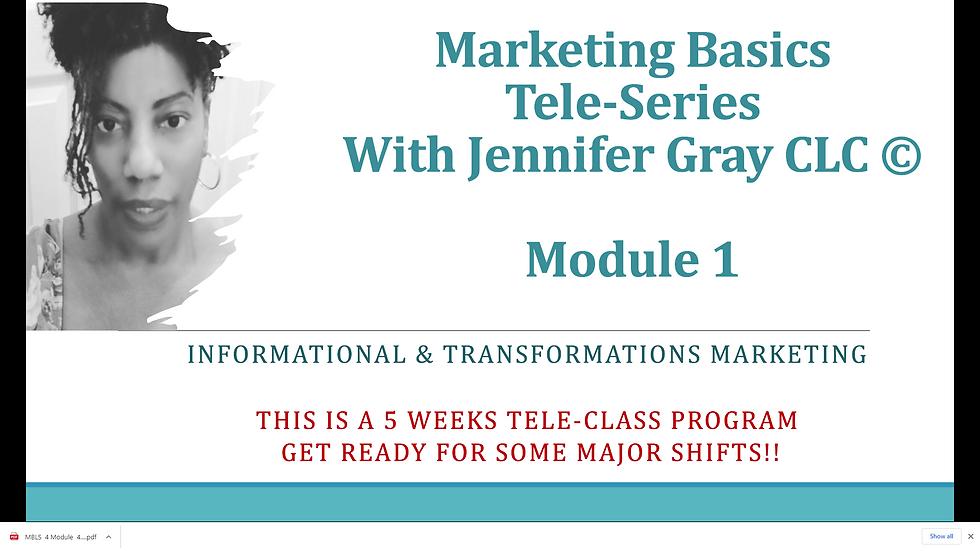 Marketing Basics 1 Tele-Series Module 1