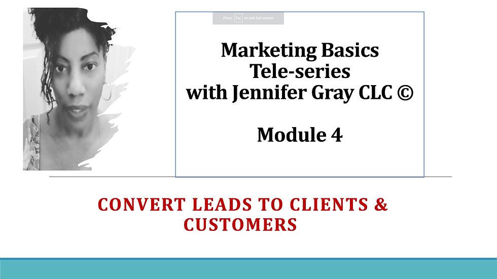 Marketing Basics 4 Tele-Series Module 4