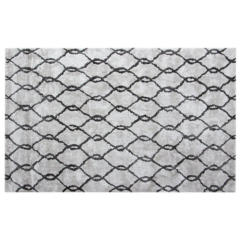 Microfiber Plush Trellis Area Rug -Light Gray
