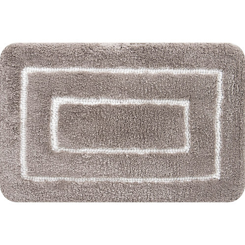 Borders Foam Bath Mat-Taupe