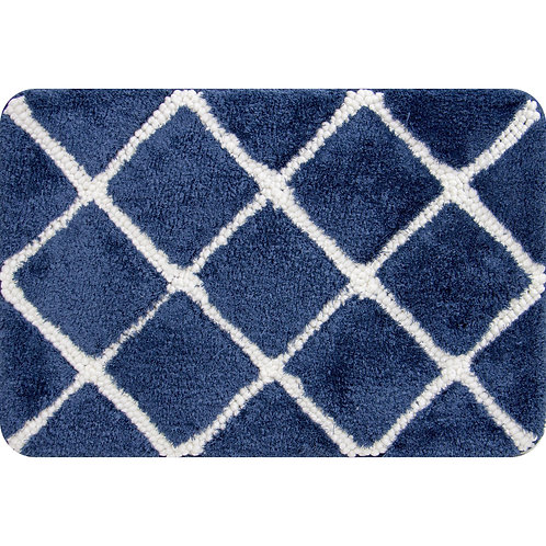 Trellis Foam Bath Mat -Navy