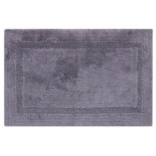 Egyptian Cotton Inset Border Bath Rug -Charcoal