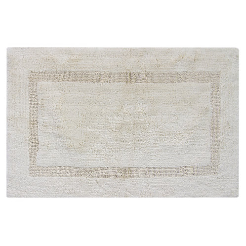 Egyptian Cotton Inset Border Bath Rug - Natural