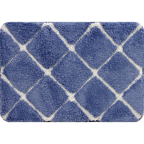 Trellis Foam Bath Mat -Mid Blue