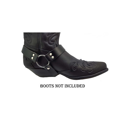 Black leather boot straps