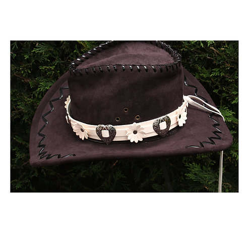 Cream leather hat band