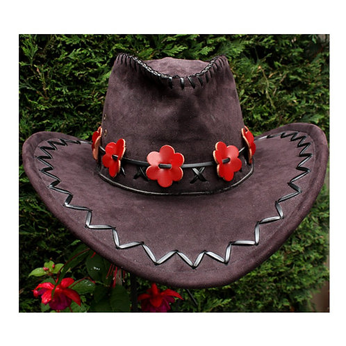 Red flower hat band