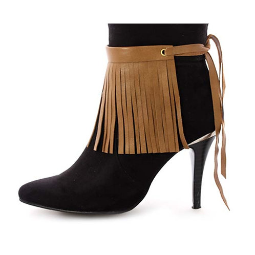 TAN BROWN LEATHER BOOT FRINGES