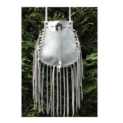 grey fringed bag