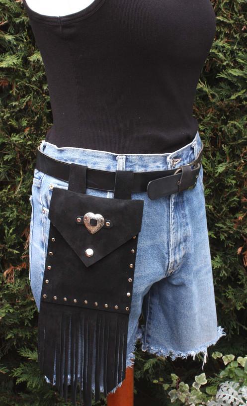 a4eff14ef8d2 Black Suede fringed belt bag